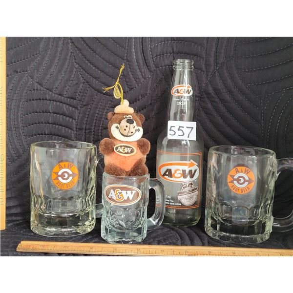 A&W collection. 2 vintage 1960's mugs, a baby mug, bear and bottle with present logo.