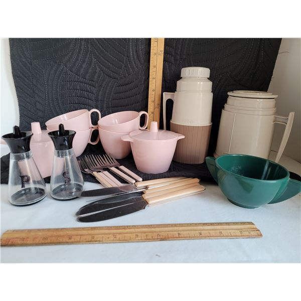 Melmac cups and sugar bowls, vintage cutlery plus 2 thermos bottles.