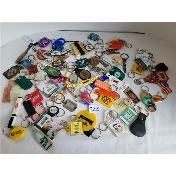 Bag of assorted keychains.