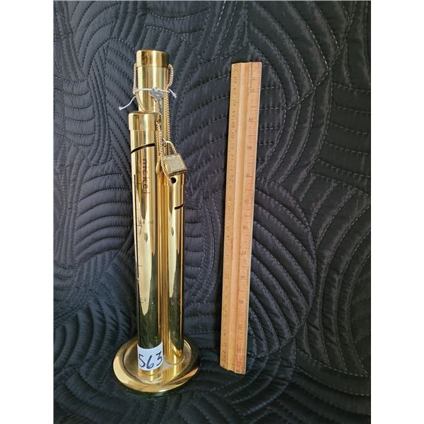 Brass tube coin bank, with chain, lock and key included.