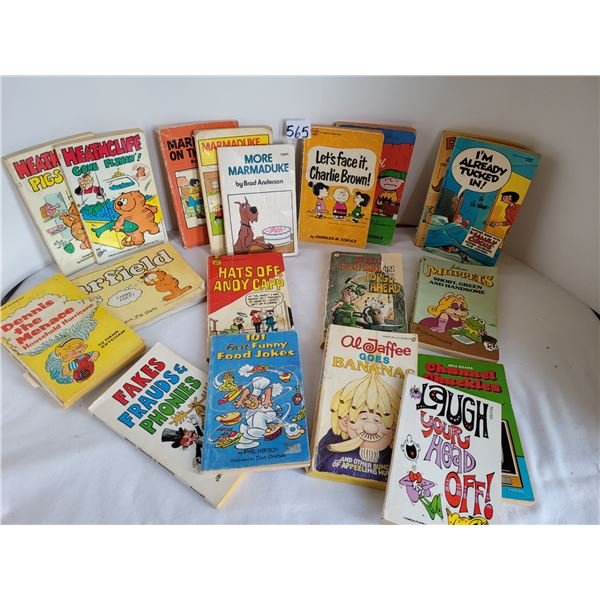 Group of vintage paperback cartoon and joke books dating back to the 1950's.