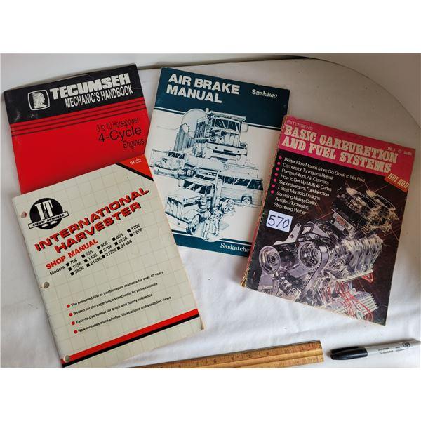 4 mags: Carburetors & fuel systems. Air brake manual. IH shop manual, & 3-10 4 cycle engines.