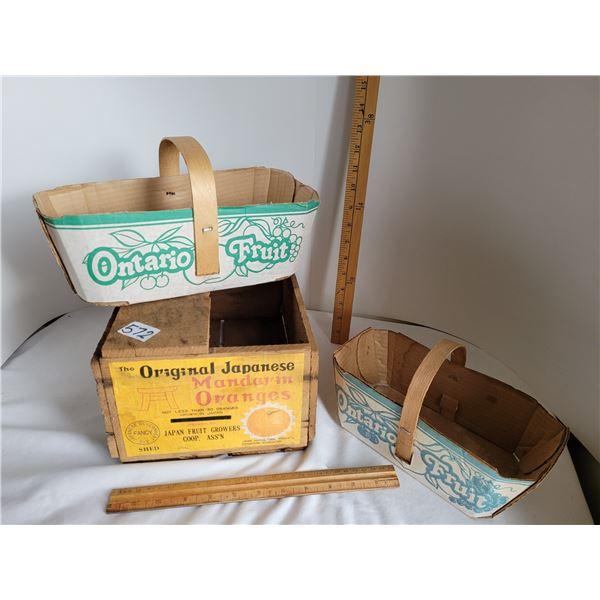 Old wooden Japanese oranges retail box plus 2 Ontario fruit baskets.