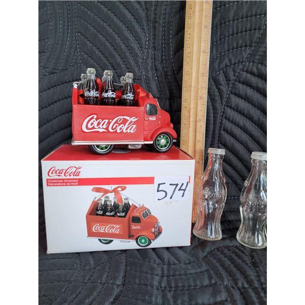 Coca-Cola truck ornament and salt & pepper set.
