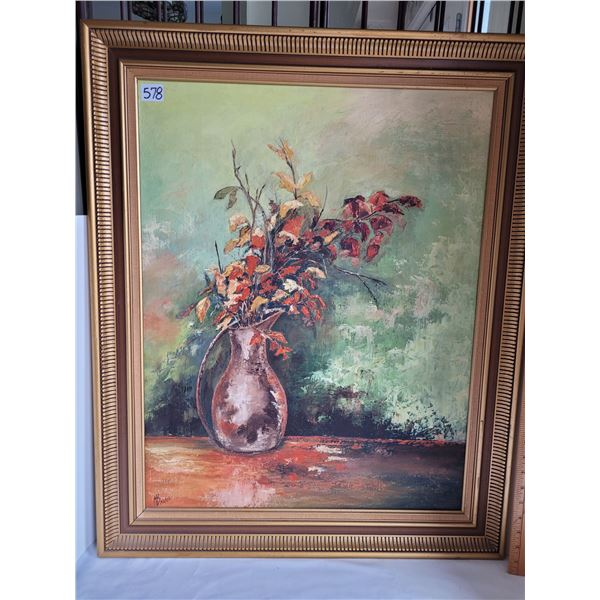 """Framed still life oil painting by local artist Margaret Barrie. 33""""H & 27""""W"""