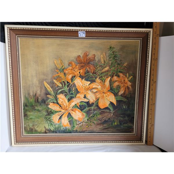 """Prince Albert local artist Margaret Barrie Framed oil painting. Lilies Approx. 24"""" X 27"""""""