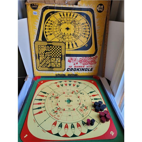 Vintage metal edged Crokinole board+10 games on reverse. Wood, metal, plastic game pieces.