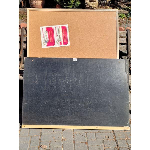 """1960's Black Board & 1970's cork board still in original packaging. 36"""" X 24"""" each."""