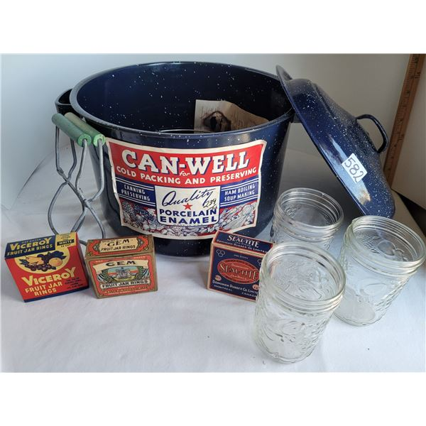 Old Canwell canner (never used). With jam jars, jar lifter, Jar opener & vintage rubber ring boxes.