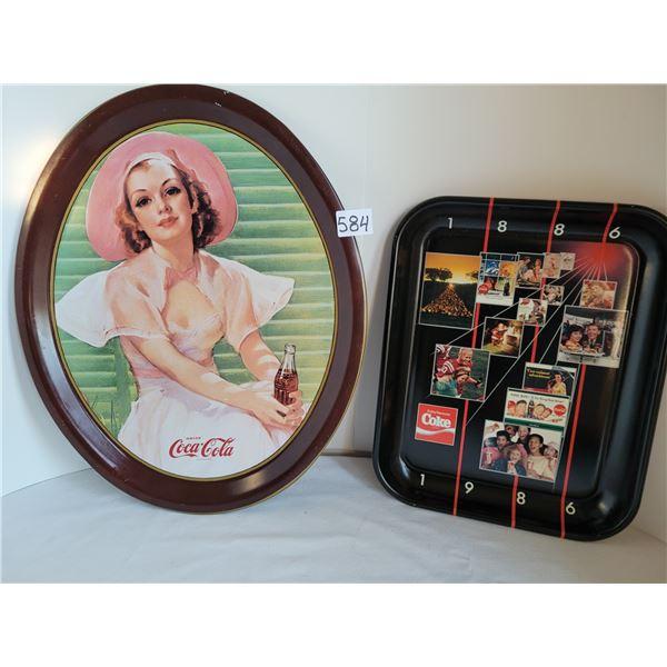 1977 Oval Coca-Cola reproduction tray of a 1933 calendar girl.