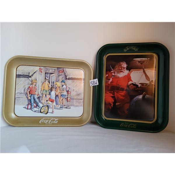 1984 Coca-Cola tray Ltd. Can. Edition and 1983 Christmas Santa Tray.
