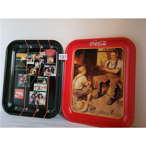 "1986 coke tray Limited Canadian edition. 1987 ""Village Blacksmith"" canadian edition litho 1988"