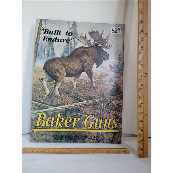 Baker Guns tin sign.