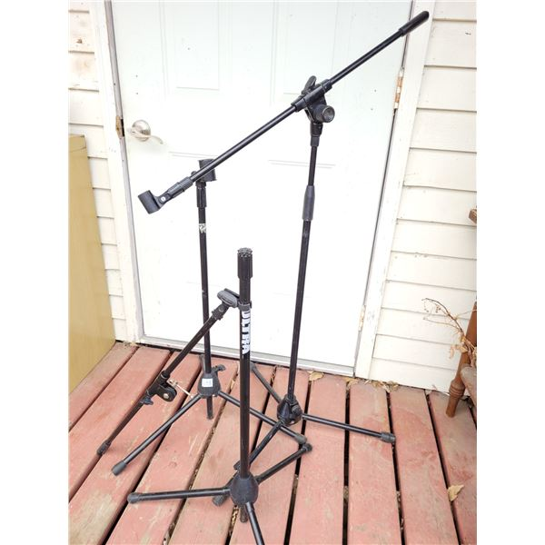 Microphone and cymbal stands.