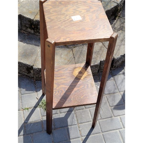 """Primitive fir plant stand. Handmade measuring 31""""H X 12""""W at the bottom."""