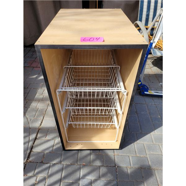 """Cabinet with metal wire drawer insert. Approx. 30""""H  16""""W 24""""D"""
