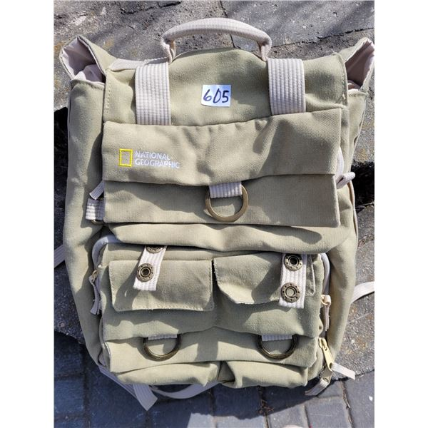 National Geographic canvas backpack, pouches for laptop, camera, water bottle, etc