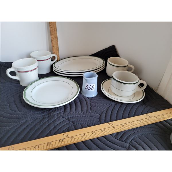 Vitrified hotel and restaurant dinnerware from older times. Made in England.