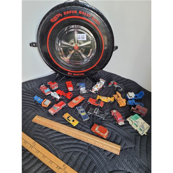 Hot wheels case with 1969-'70 cars.  Corgi Jr. Whiz wheels, Playart, Hot wheels, Matchbox, Majorette