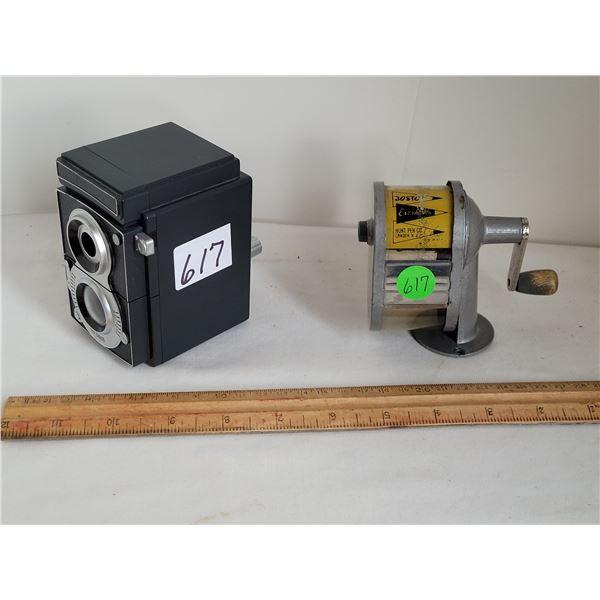 Vintage Boston pencil sharpener, wall or desk mount plus Kikkerland Old camera style desk sharpener.
