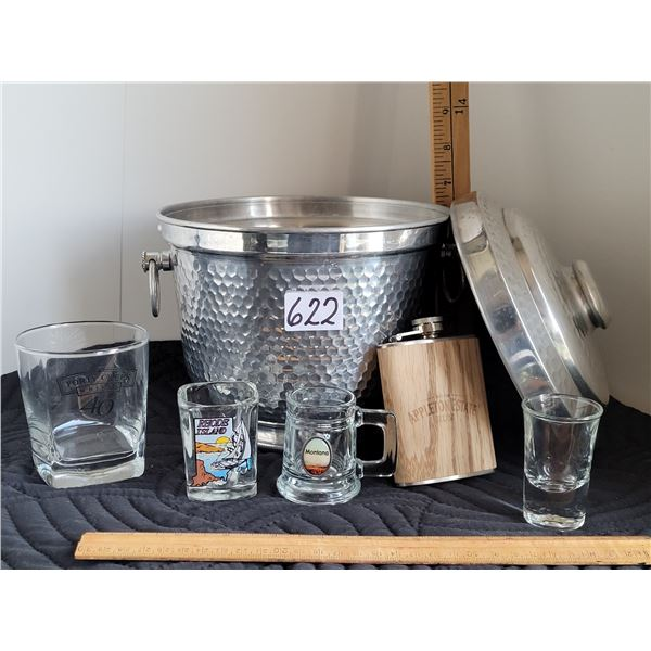 Nice ice bucket collection with Appleton Rum flask, whiskey glass and shot glasses.