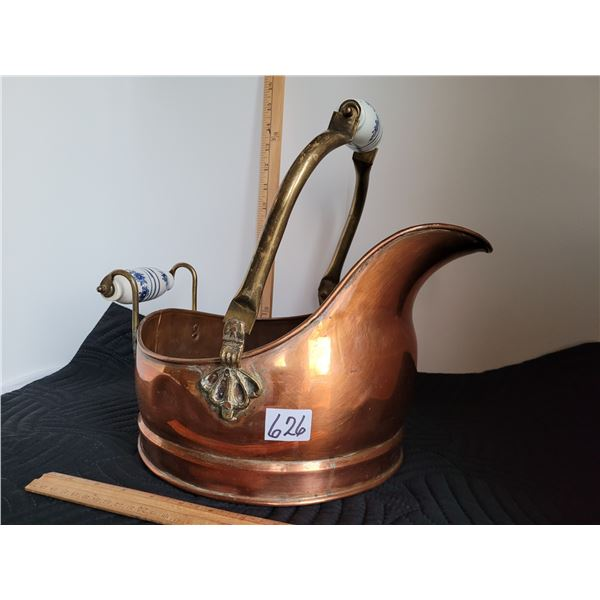 Vintage full size Copper Coal Hod with porcelain handles. Made in Holland.