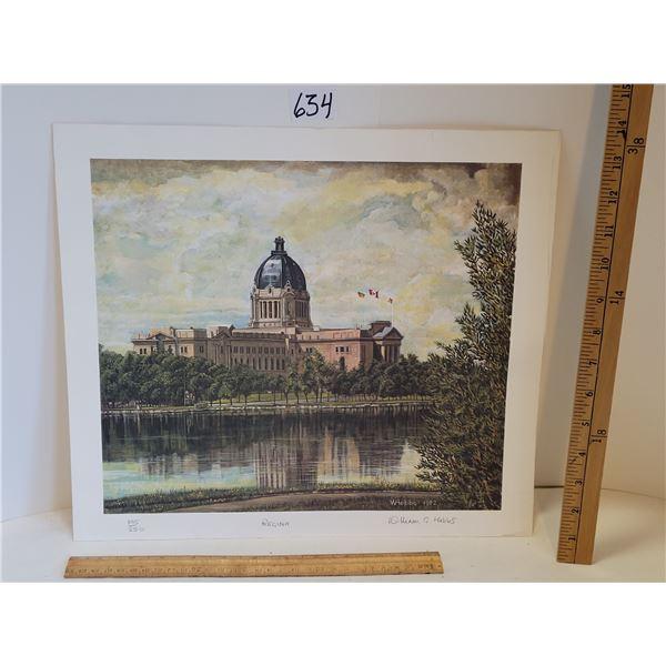 Regina SK. Parliament Building. William Hobbs 1982 signed print #195 /250.