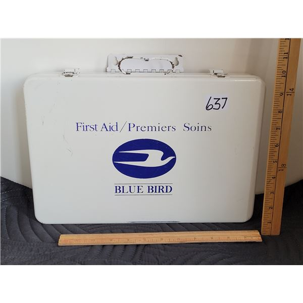 Metal Blue Bird First Aid Kit. It is wall mountable and full of bandages etc.