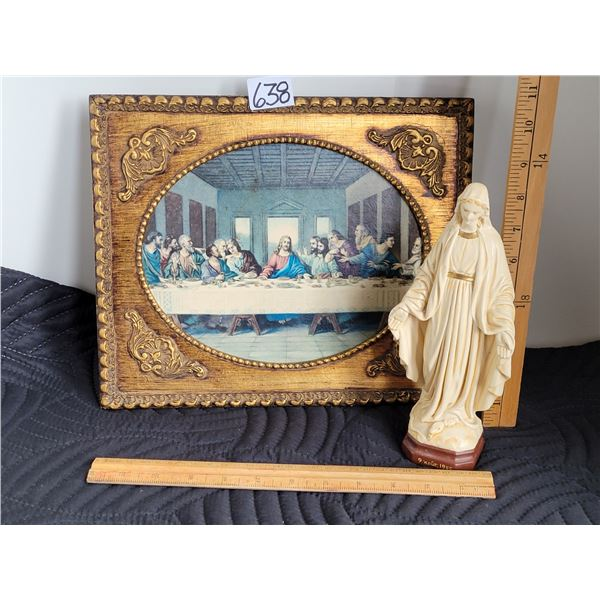 Last Supper in embellished frame & Vintage Pieraccini statue of Mother Mary dated Aug. 9 1945