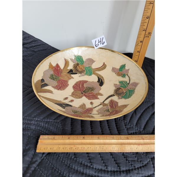 Solid brass, raised design, enamelled plate. Made in India.