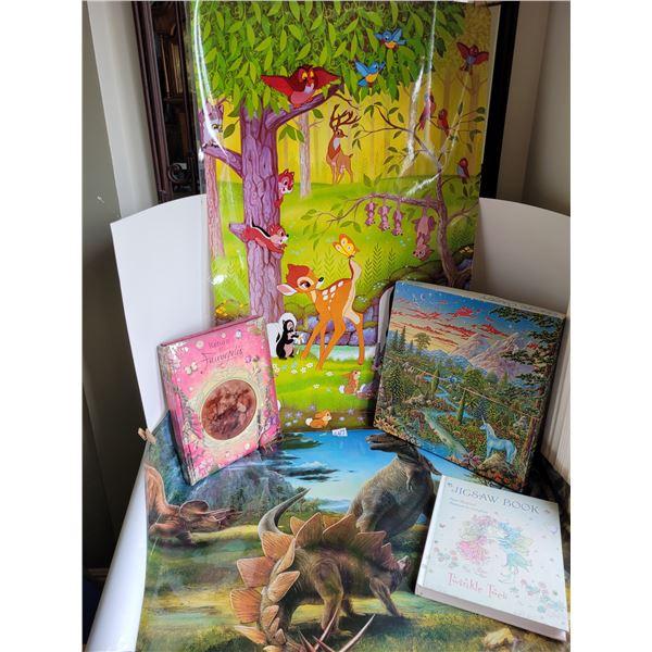 Bambi & Dinosaurs Posters (Printed Switzerland). Fairy pop up & puzzle books Unicorn puzzles