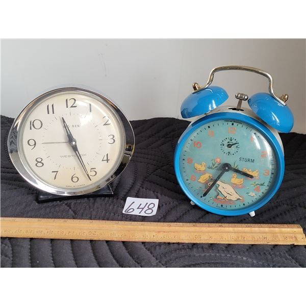 Westclox Big Ben wind alarm clock (Canada) Vintage Sturm clock, duck moves at 6 o'clock (Brazil)