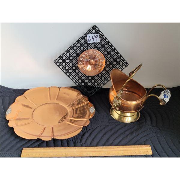 Copper mini coal hod, porcelain handle (Morocco) Unique metal & copper thermometer, copper plate.