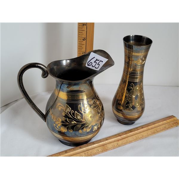 Solid brass pitcher and vase with matching etched pattern. Made in India.