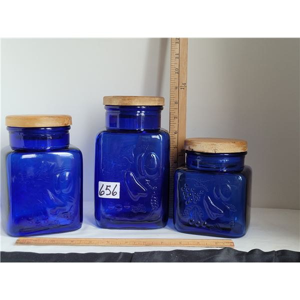 Cobalt blue glass, 3 size canister set with wood lids
