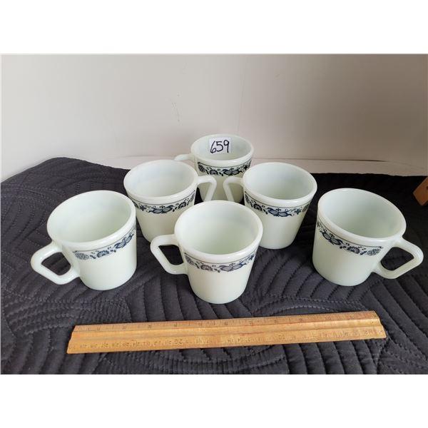 6 Pyrex mugs. Old Town Blue pattern. 1 mug slightly chipped.
