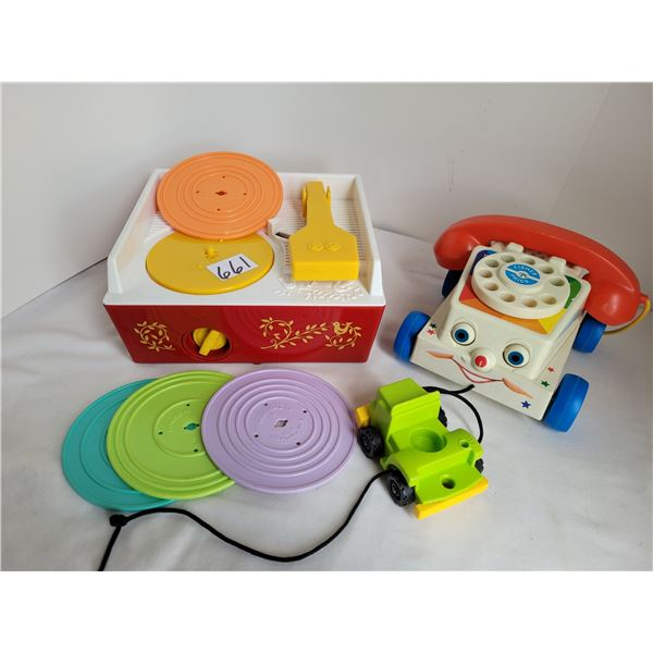 Fisher price record player, 4 discs, rotary dial phone & car for little people. Matel 2009 & 2014