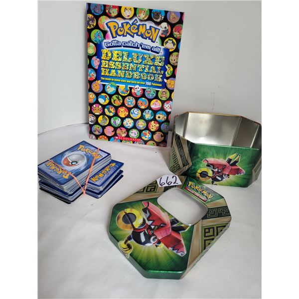 Pokemon collector book, trading card tin, and unchecked cards.