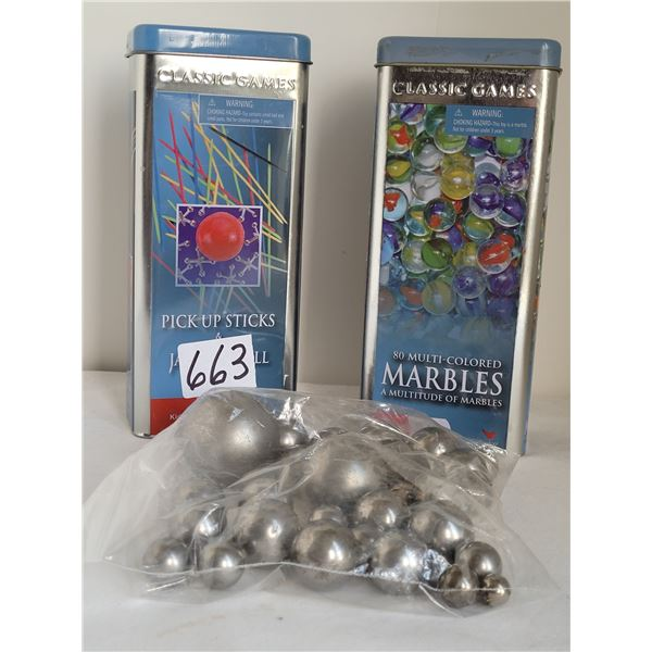 Pick up sticks tin, 80 marbles in a tin, and a bag of steelies.