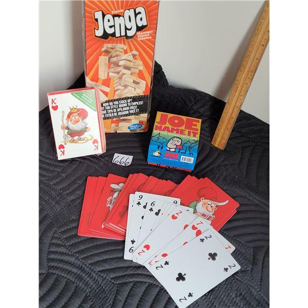 Group of games. Jenga, Joe name it and Jumbo playing cards.