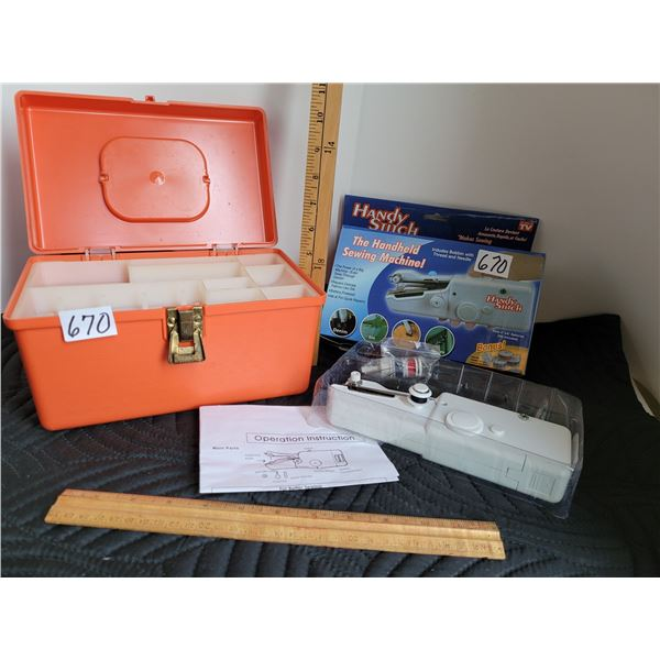 As seen on TV Handy Stitch, the hand held sewing machine plus a sewing case for accessories.