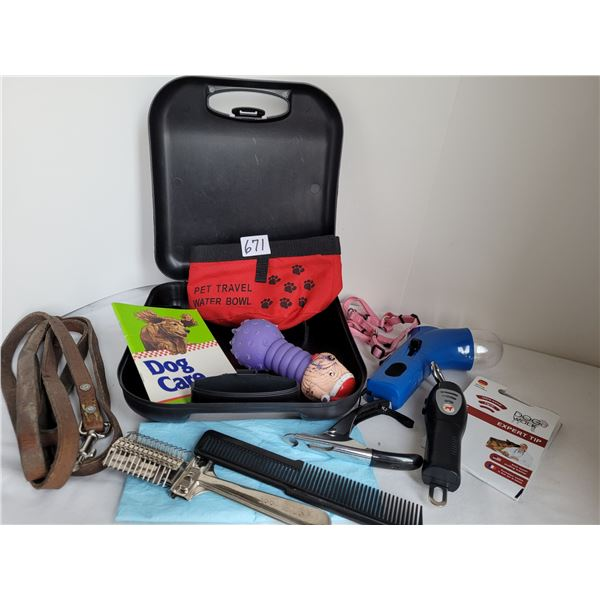 Kit with travel water dish, treat shooter, nail clippers, no pulling training devise & other product