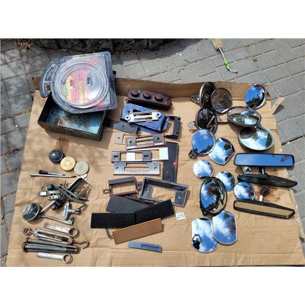 Large lot of auto mirrors, mounting hardware,radio brackets & dashboard parts, chrome trim kits & sm