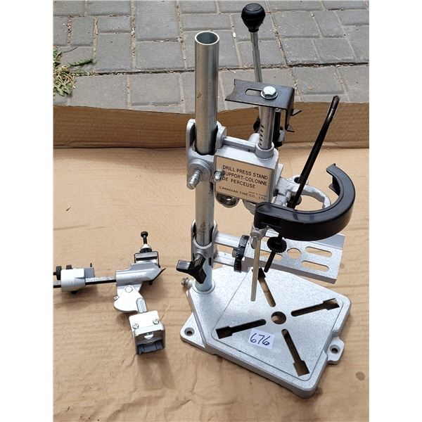 Drill Press stand (conversion). Drill grinding attachment, in an old galvanized toolbox.