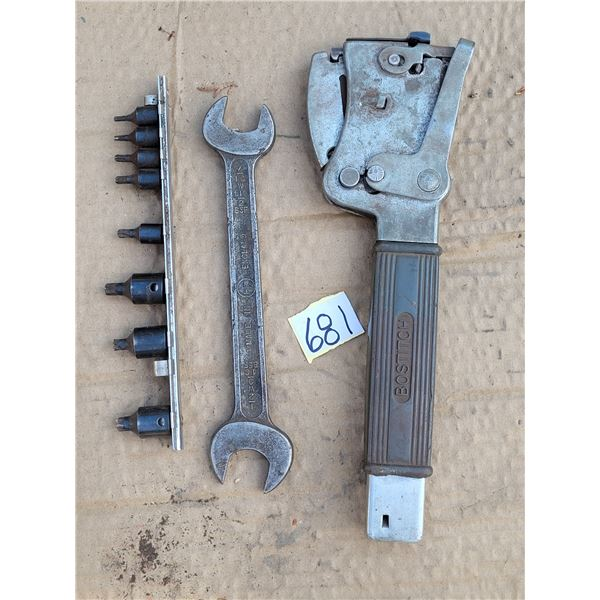 1930's Bostitch hammer stapler, old English made hand wrench & socket attachments