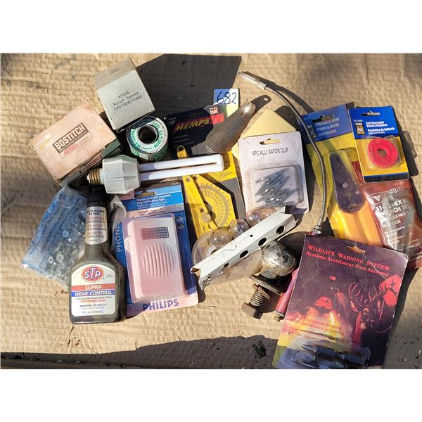 Automotive parts, accessories, small flashlight probe (working) rough service bulbs etc.