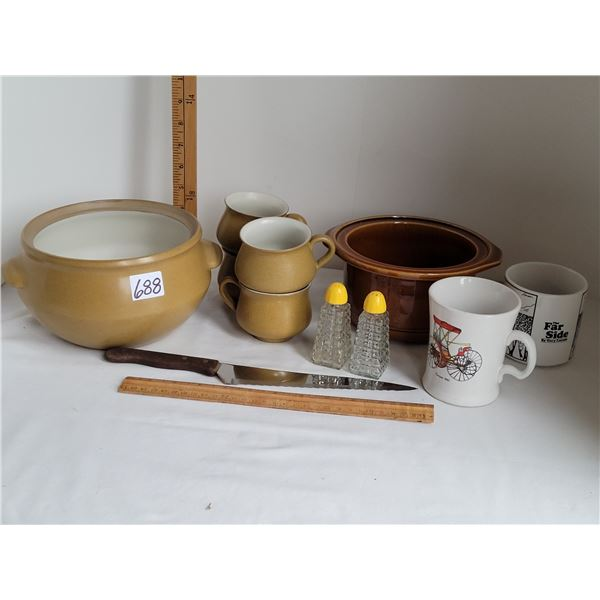 Denby pot & 4 cups,( England) Ceramic pot, 2 mugs, knife & vintage salt/pepper shakers.