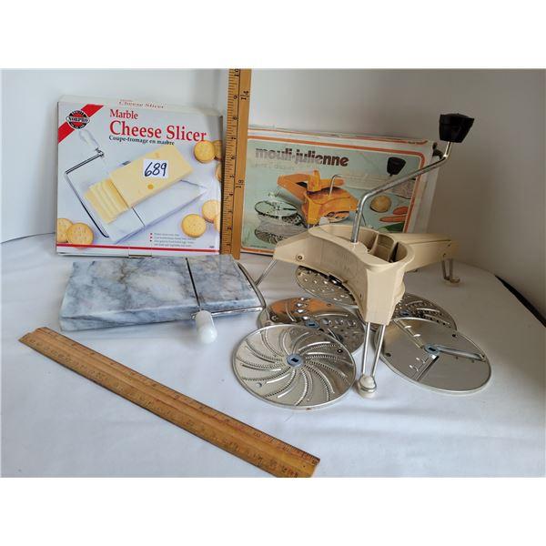 Marble cheese slicer, extra blades. Vintage 1970's Mouli Julienne slicer, grater, shedder, 5 blades.