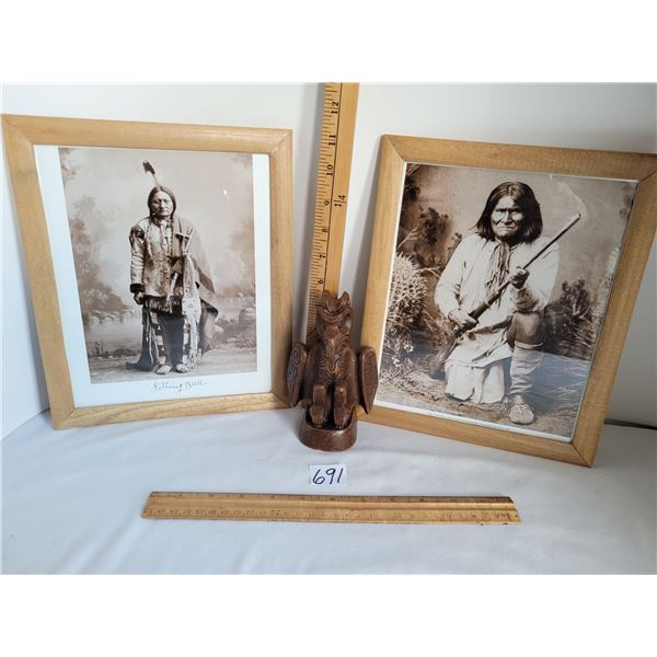 Framed 8X10 prints from 1884 & 1885 originals. Sitting Bull Sioux leader 1834-1890. Geronimo Apache
