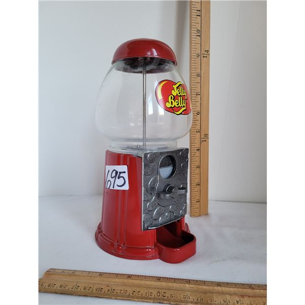 Metal and glass Jelly Belly coin bank, jelly dispenser.